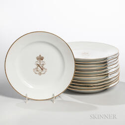 Twelve French Porcelain Dinner Plates