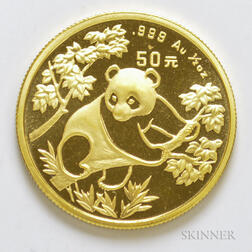 1992 Chinese 50 Yuan Large Date Gold Panda.