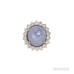 Platinum, Star Sapphire, and Diamond Ring, Retailed by Greenleaf & Crosby