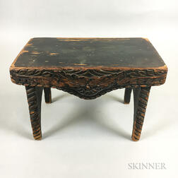 Green-painted and Carved Pine Footstool