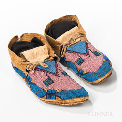 Pair of Lakota Beaded Hide Moccasins