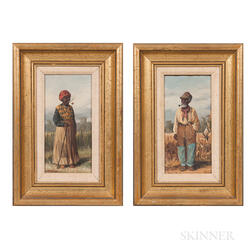 William Aiken Walker (South Carolina/Maryland, 1838-1921)      Two Works: Pair of African American Laborers