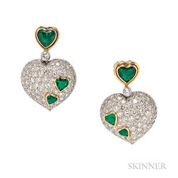 Platinum, Emerald, and Diamond Earrings, Harry Winston