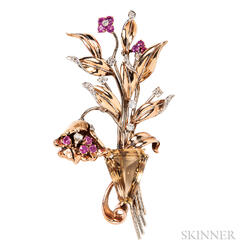 Retro 14kt Gold, Citrine, Ruby, and Diamond Flower Brooch