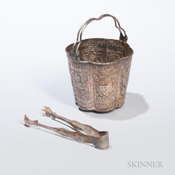 Southeast Asian Repousse Silver Bucket and Tongs