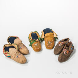 Three Pairs of Eastern Soft Sole Moccasins