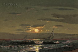 Warren Sheppard (American, 1858-1937)      Moonlight Sailing
