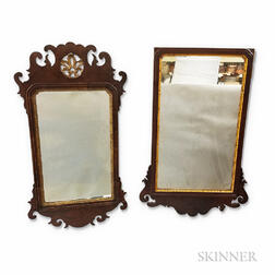 Two Chippendale Carved and Parcel-gilt Mahogany Scroll-frame Mirrors