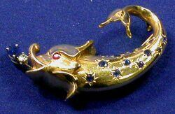 14kt Gold, Sapphire, and Ruby Brooch