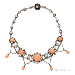 Antique Silver, Coral, and Blister Pearl Necklace