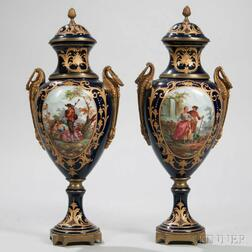 Pair of Large French Cobalt-decorated Porcelain Vases