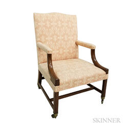 George III Upholstered Mahogany Lolling Chair
