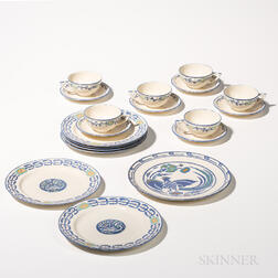 Nineteen Pieces of Hand-painted Belleek Dinnerware