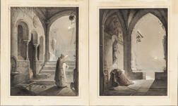 Johann Caspar Nepomuk Scheuren (German, 1810-1887)      Two Unframed Ink, Watercolor, and Gouache Paintings: Monk Praying