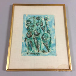 Framed Gouache Abstract Figural Group