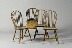 Set of Four Pine, Maple, and Hickory Painted Bow-back Windsor Side Chairs