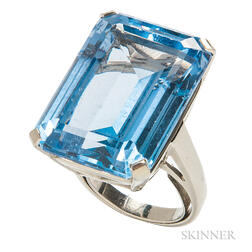 White Gold and Synthetic Blue Spinel Ring