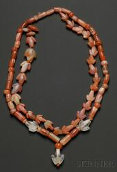 Two Pre-Columbian Carnelian Necklaces