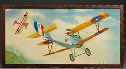 Oil on Canvas Painting of a WWI Dogfight