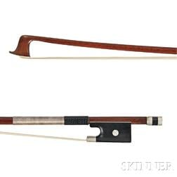 French Nickel Silver-mounted Violin Bow, Justin Poirson