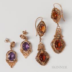 Pair of 14kt Gold, Amethyst, and Pearl Earrings and Pair of Gold-filled Filigree Citrine Earrings