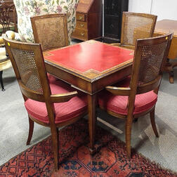 Georgian-style Inlaid Mahogany Table and Four Chairs.     Estimate $100-150