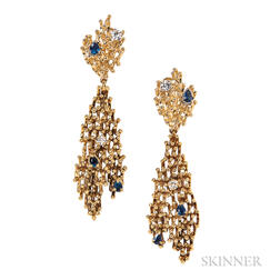 18kt Gold, Sapphire, and Diamond Day/Night Earclips