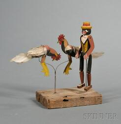 Three Articulated Painted Wooden Figures Mounted on Wood Base