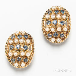 14kt Gold, Pearl, and Sapphire Earclips