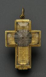 Antique Gilt-metal and Rock Crystal Crucifix Watch, signed Jaques Joly