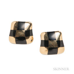 """18kt Gold and Black Jade """"Curved Check"""" Earrings, Angela Cummings"""