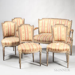 Louis XVI Five-piece Painted and Gilded Beechwood Suite of Seating Furniture
