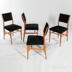 Four Gio Ponti for Singer & Sons Walnut Side Chairs