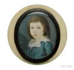 Portrait Miniature of a Young Boy Wearing a Blue Jacket with a White Lace Collar