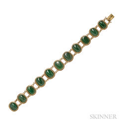 High karat Gold and Jadeite Bracelet