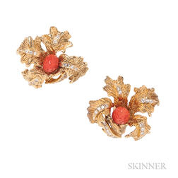 18kt Gold, Coral, and Diamond Earclips