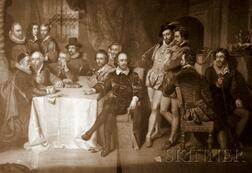 Lot of Six Framed Prints:      Shakespeare and His Friends