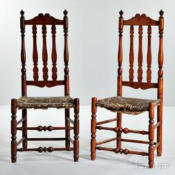 Pair of Red-stained Maple Bannister-back Side Chairs