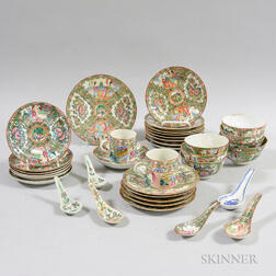 Approximately Thirty-two Pieces of Rose Medallion Porcelain Tableware.     Estimate $200-400