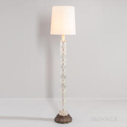 Art Deco Cut Glass and Brass Floor Lamp