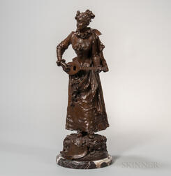 After Adrien Etienne Gaudez (act. France, 1845-1902)    Bronze Figure of a Maiden Playing Music