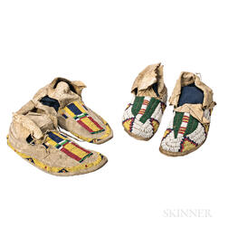 Two Pairs of Plains Beaded Hide Moccasins