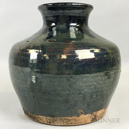 Mottled Black-glazed Stoneware Water Pot
