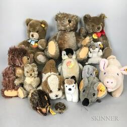 Fourteen Mostly Steiff Teddy Bears and Stuffed Animals.     Estimate $200-300