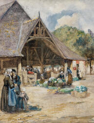 William Lee Hankey (British, 1869-1950)      Outdoor Market, Northern France