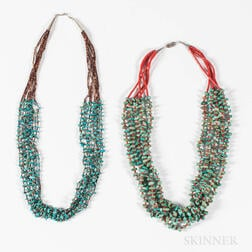 Two Southwest Coral and Turquoise Necklaces