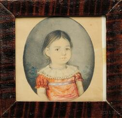 Portrait Miniature of a Girl Wearing a Salmon-colored Dress