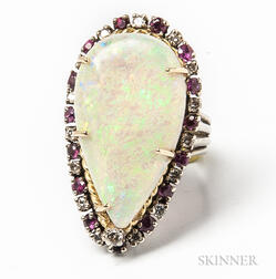 14kt White Gold, Opal, Diamond, and Ruby Cocktail Ring