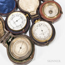 Four 19th Century Cased Pocket Barometers