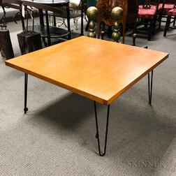 Mid-century Modern Maple Veneer and Wrought Iron Low Table